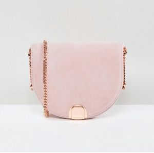Ted Baker half moon bag in nude/pink suede